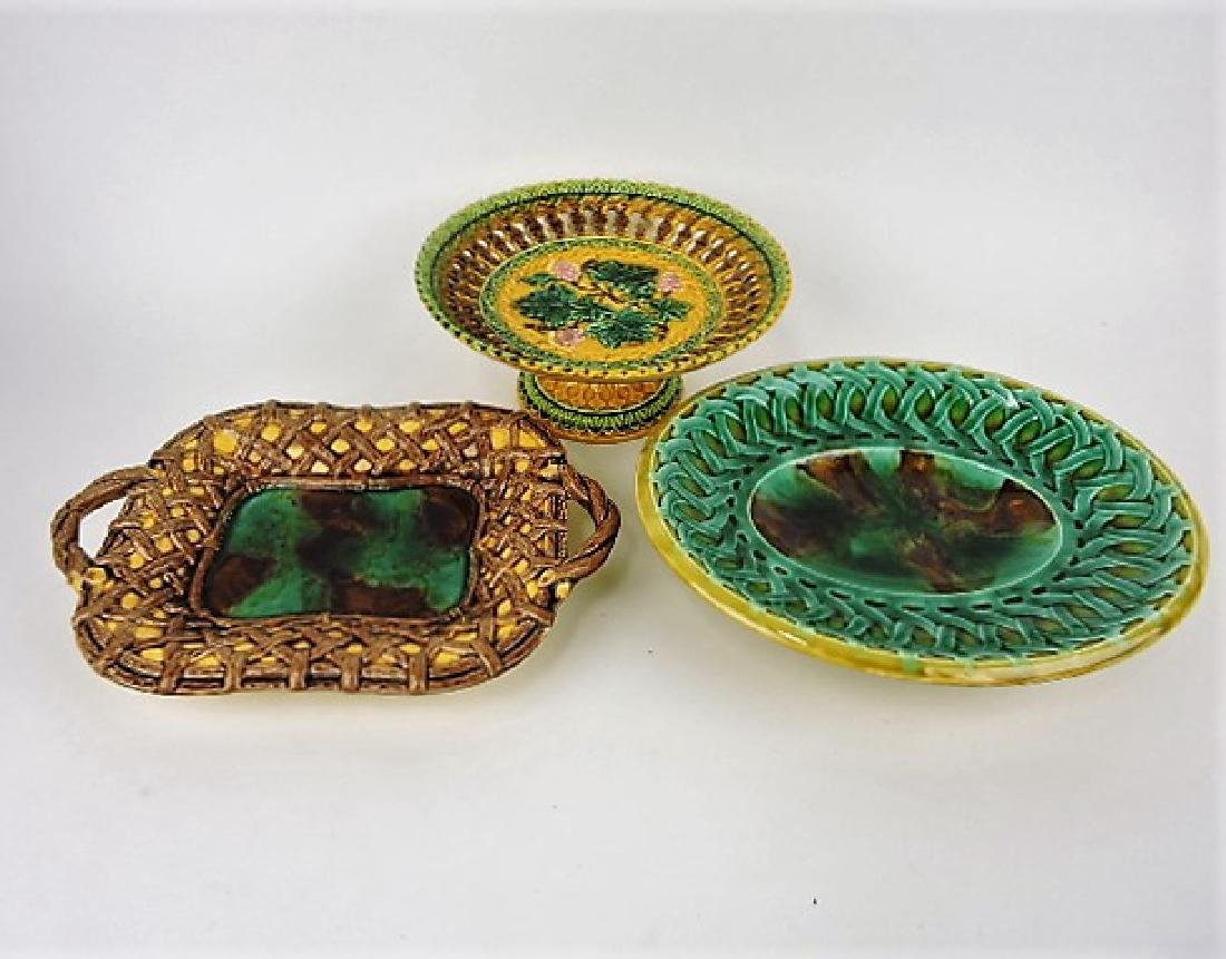 Majolica lot of 2 compotes and platter