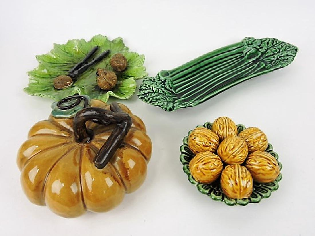 Majolica lot of 4 assorted items, various