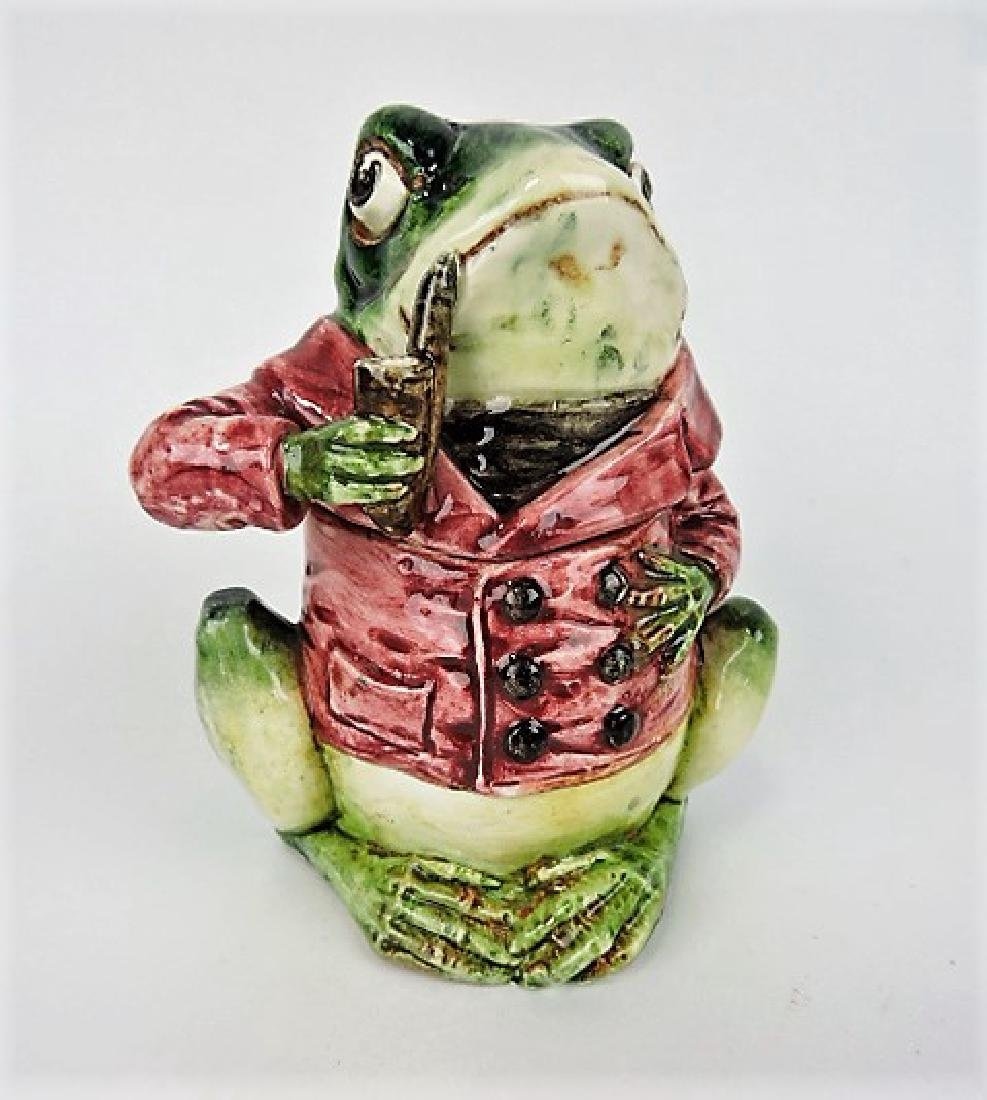 Majolica frog with pipe and red smoking jacket