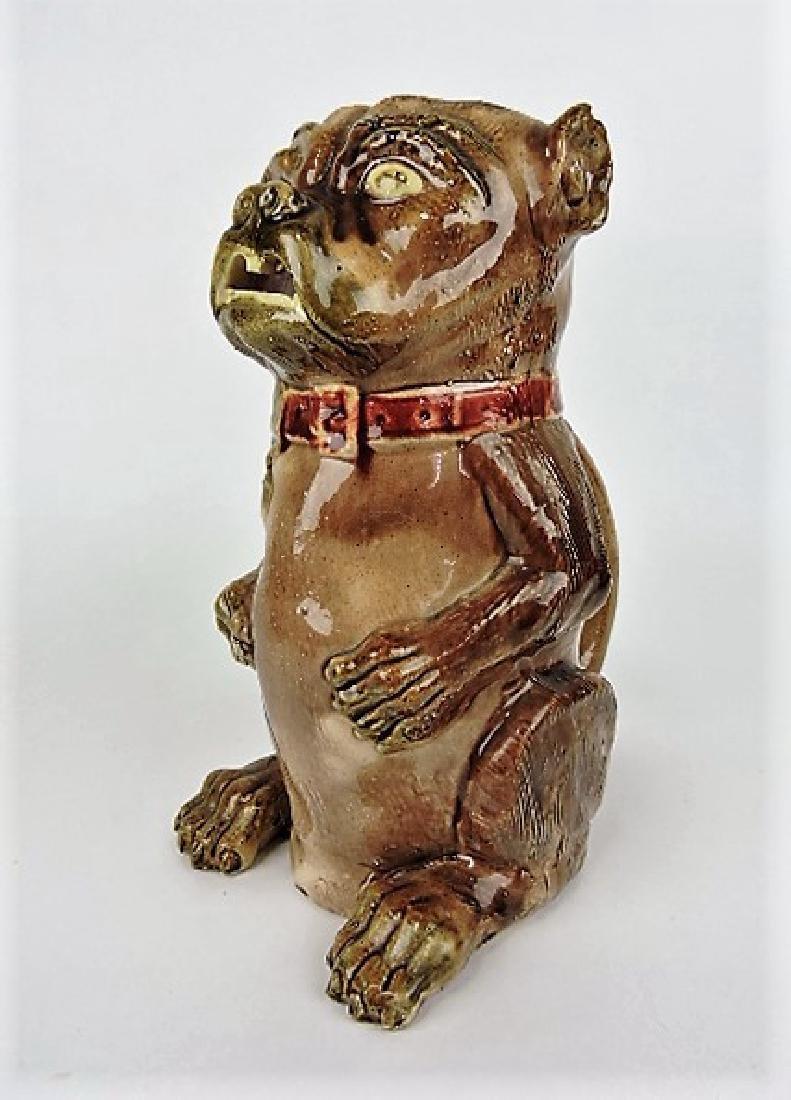 """Majolica pug dog figural pitcher10"""", nick to ears"""