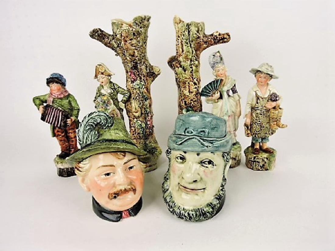 Majolica lot of 6 figurals, various condition