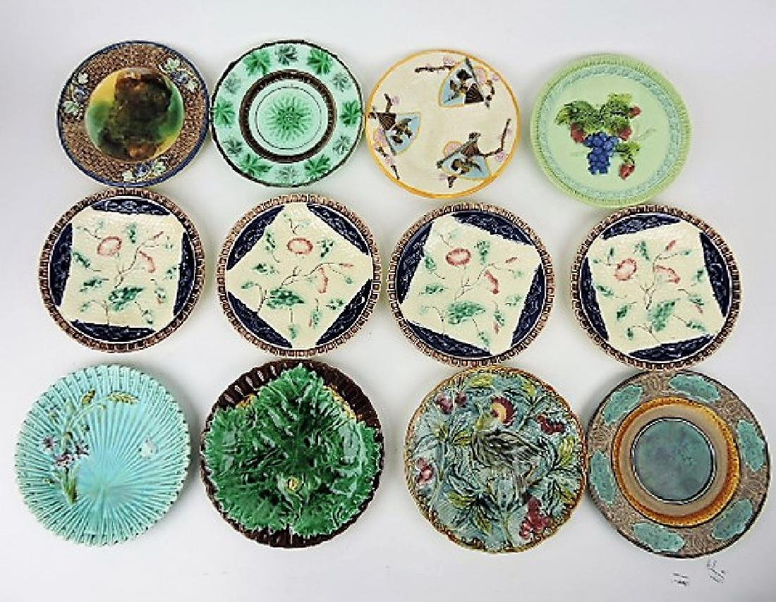 Majolica lot of 12 plates, various condition