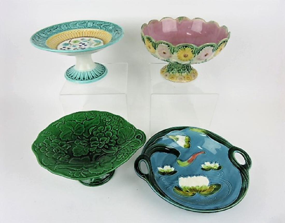 Majolica lot of 4 compotes & bowl, various