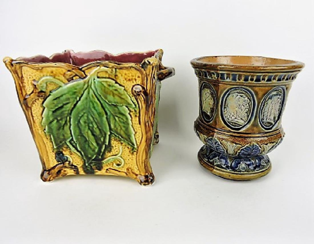 Majolica lot of 2 jardinières, various condition