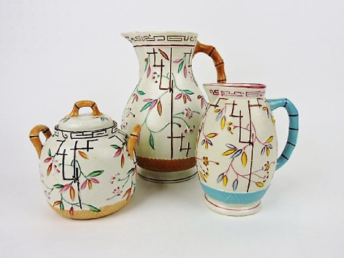Brownhills Pottery lot of 3 majolica pieces,
