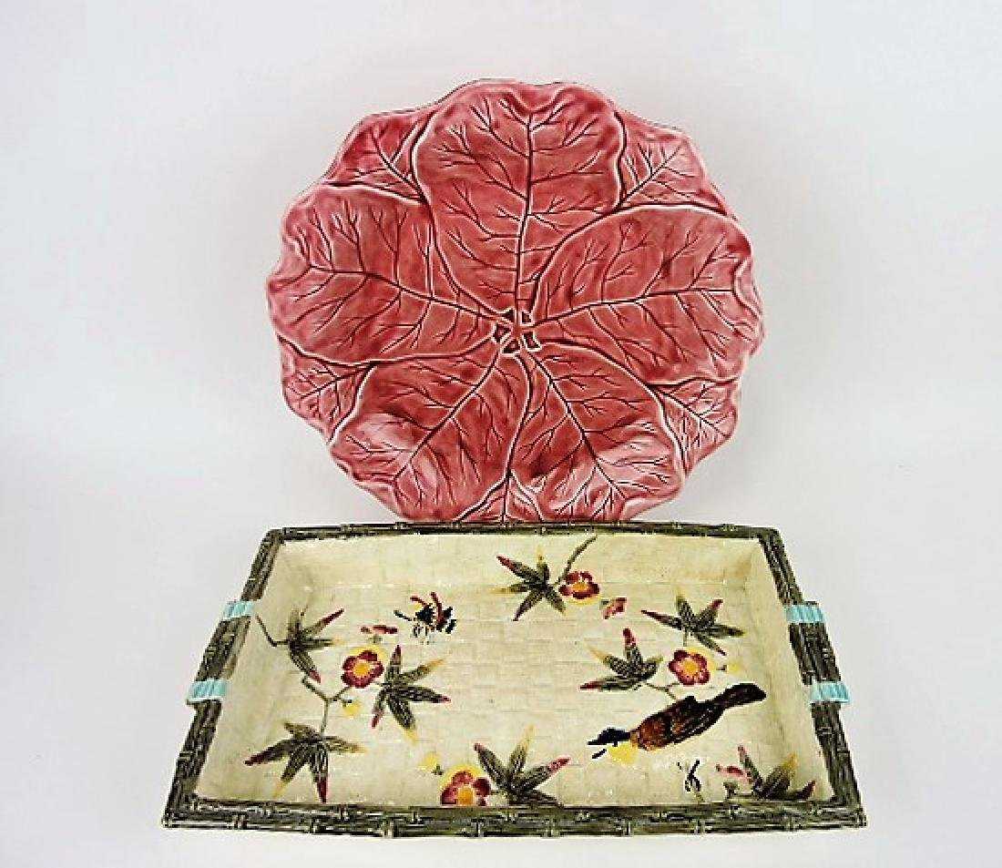 Minton pink majolica charger and Fielding bird