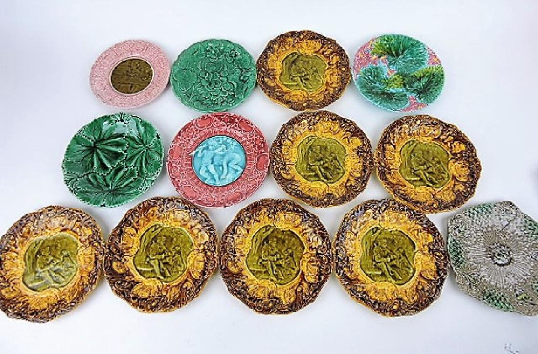 Majolica lot of 13 plates, various condition