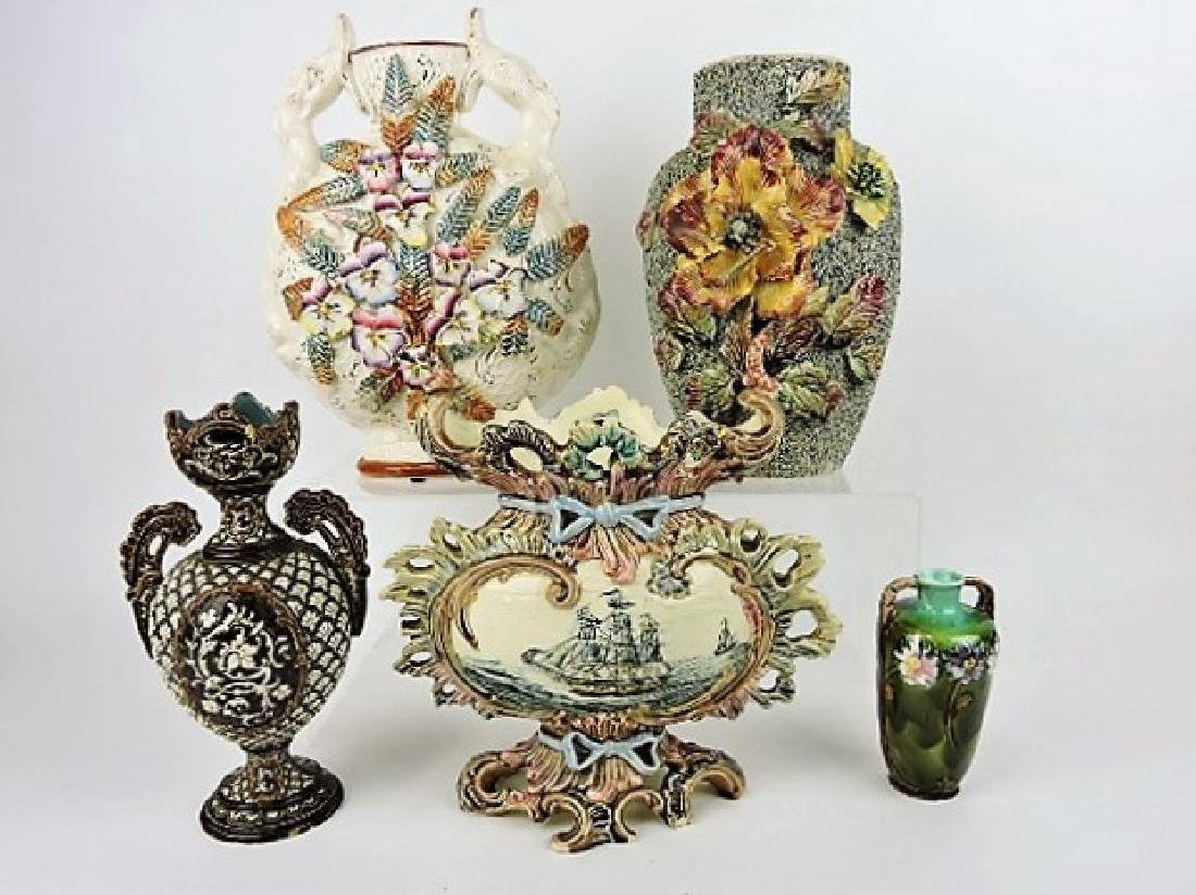 Majolica lot of 5 vases, various condition