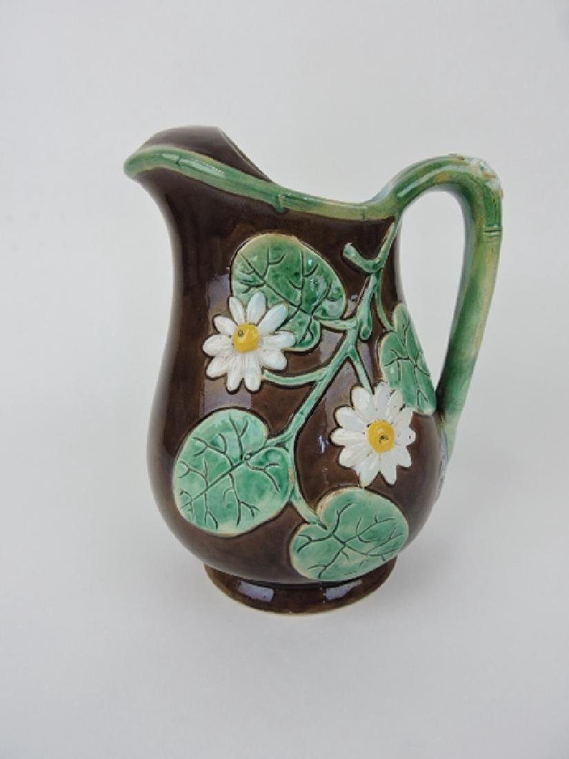 Majolica Holdcroft pond lily pitcher with icelip,