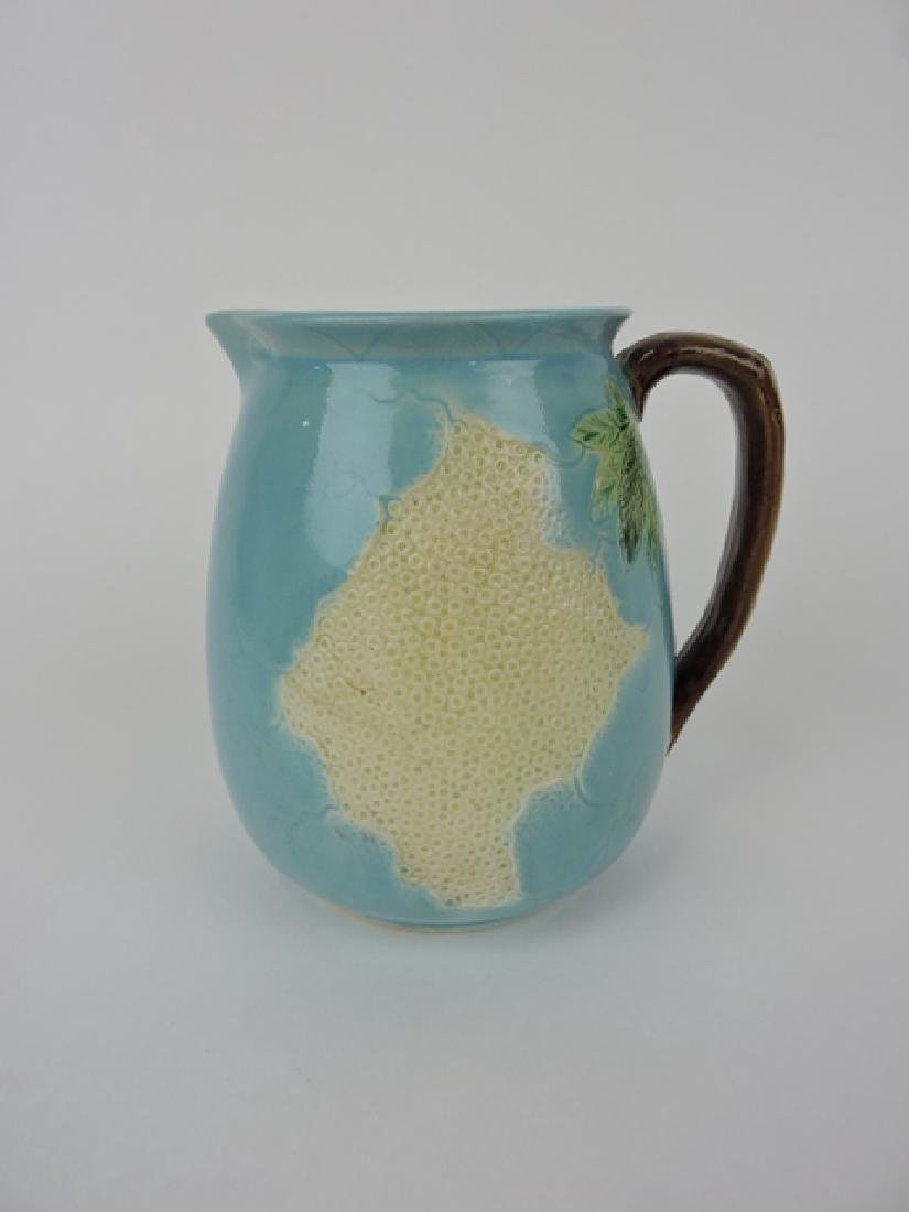 Holdcroft majolica turquoise honeycomb pitcher,