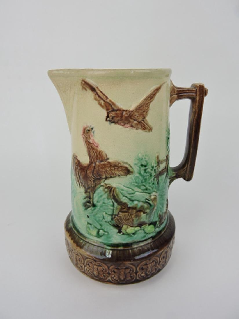 "Majolica chickens in barnyard pitcher, 8 3/4"","