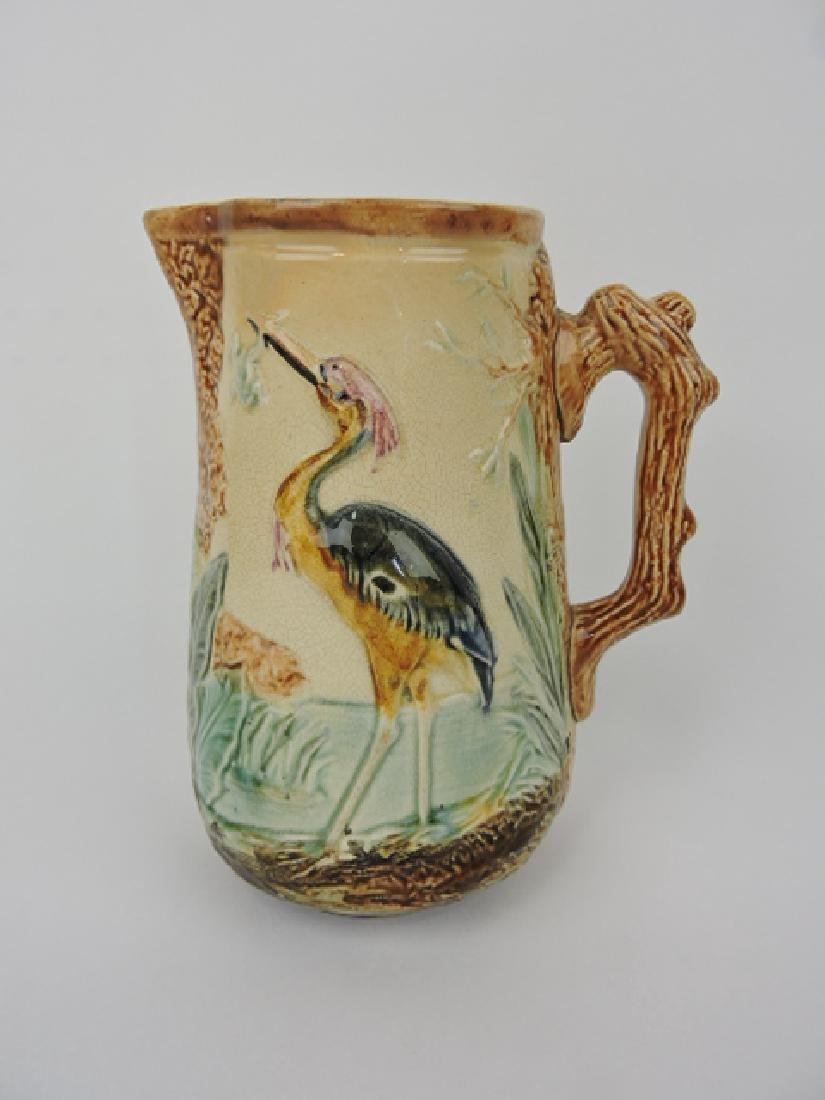 French majolica pitcher with stork and frog in