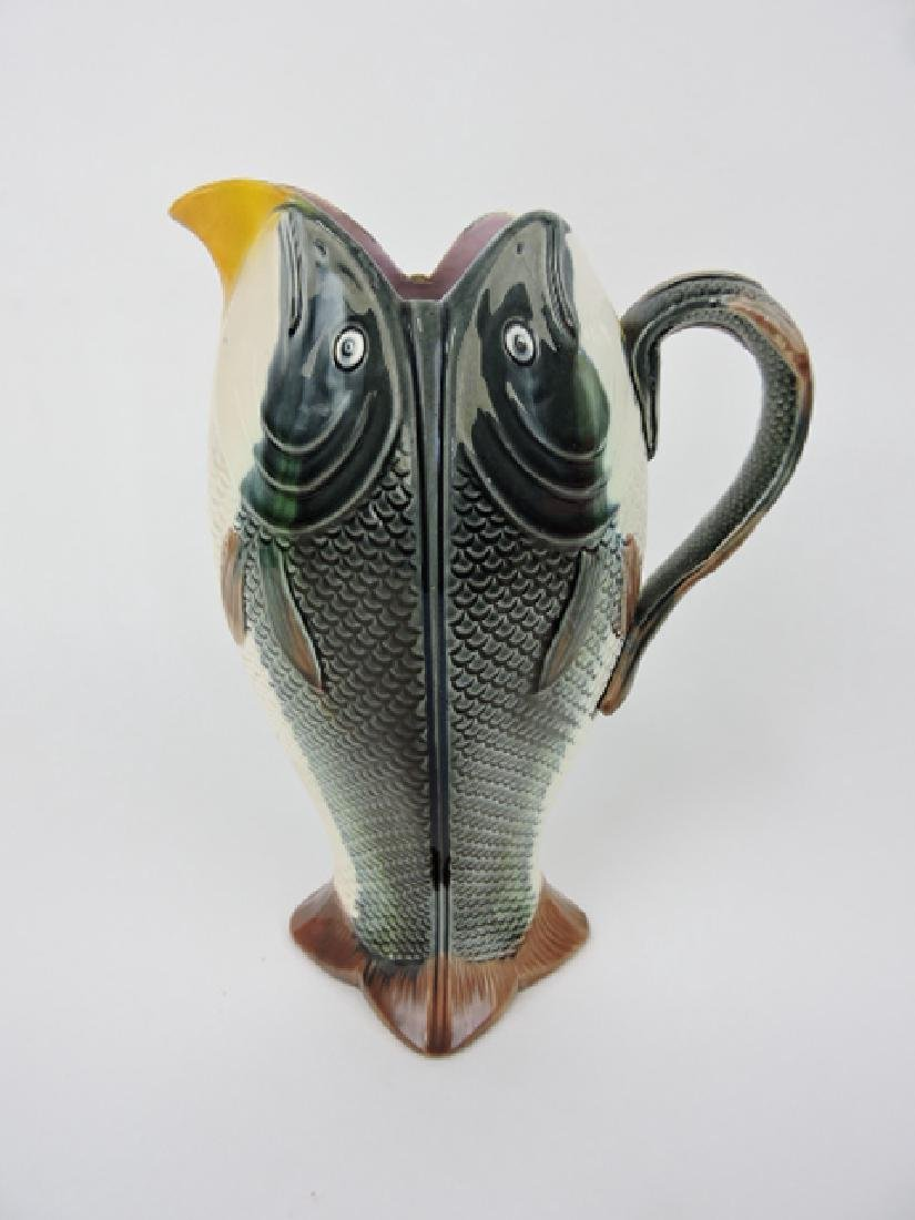 Majolica four sided fish pitcher with fish handle,