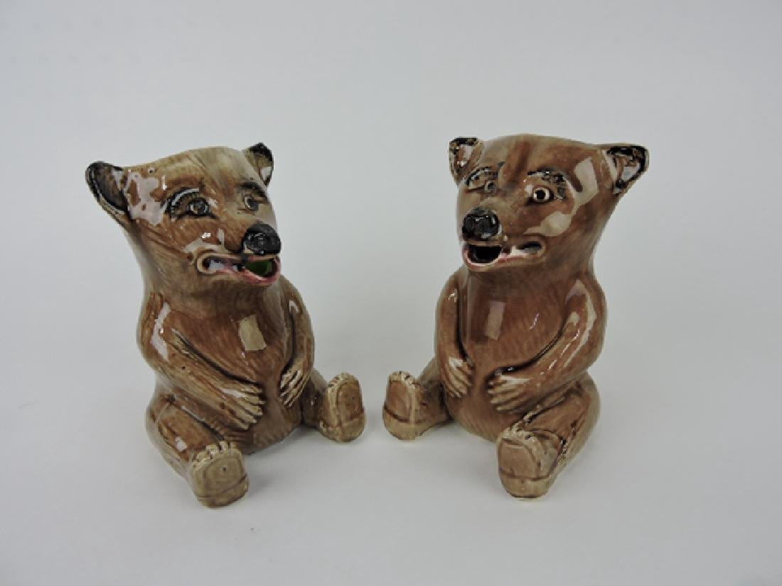 Majolica pair of seated bear figural pitchers,