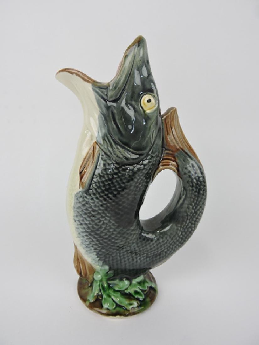 "Majolica gurgling fish pitcher, 10 1/2"""