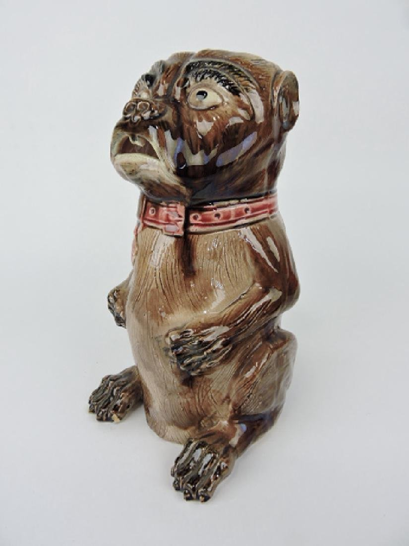 Majolica put dog figural pitcher, 11""