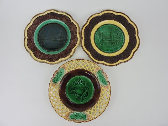 "Wedgwood majolica lot of 3- 9"" plate"