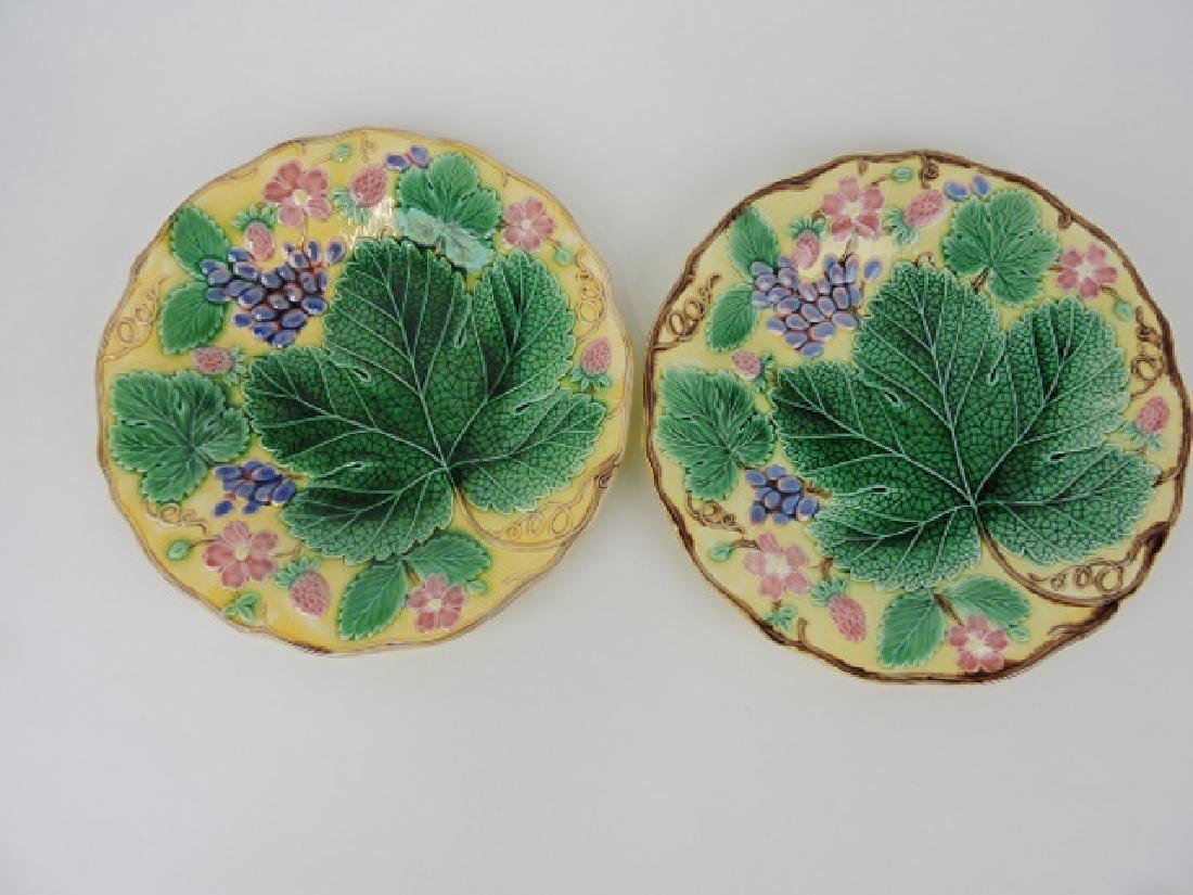 Wedgwood majolica pair of yellow strawberry and