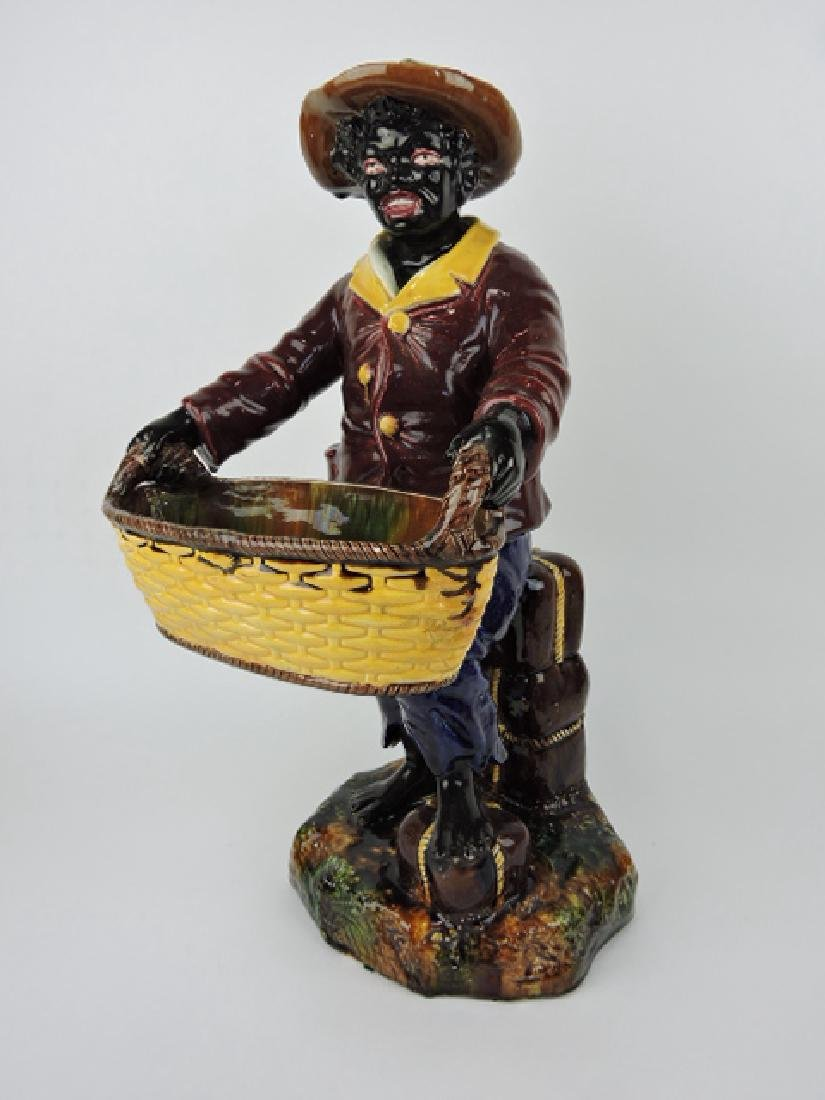 Mojolica large Blackamoor figure of man holding