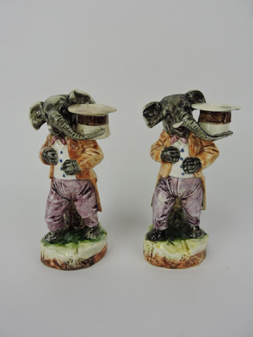 Continental majolica pair of elephants with top
