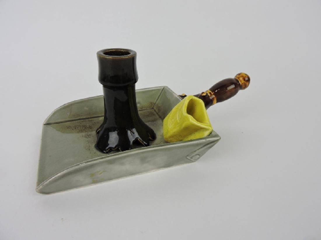 Sarreguemines rare majolica chamber candle holder