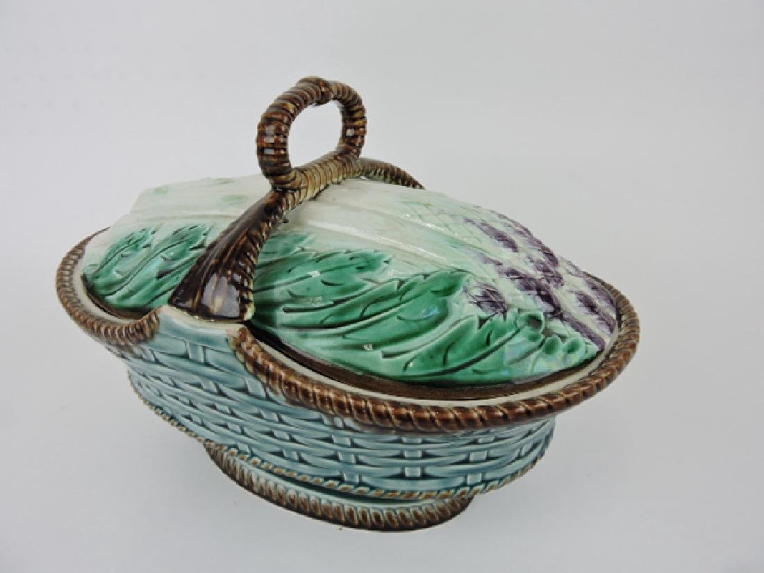 French majolica aspargus basket form tureen,
