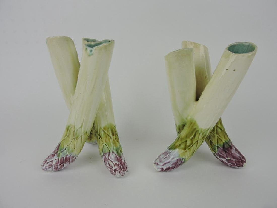 French majolica pair of triple hole bud vases, 7""