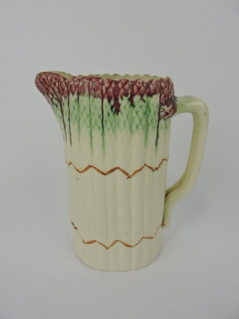 French majolica lot pitcher, rim wear, hair line,
