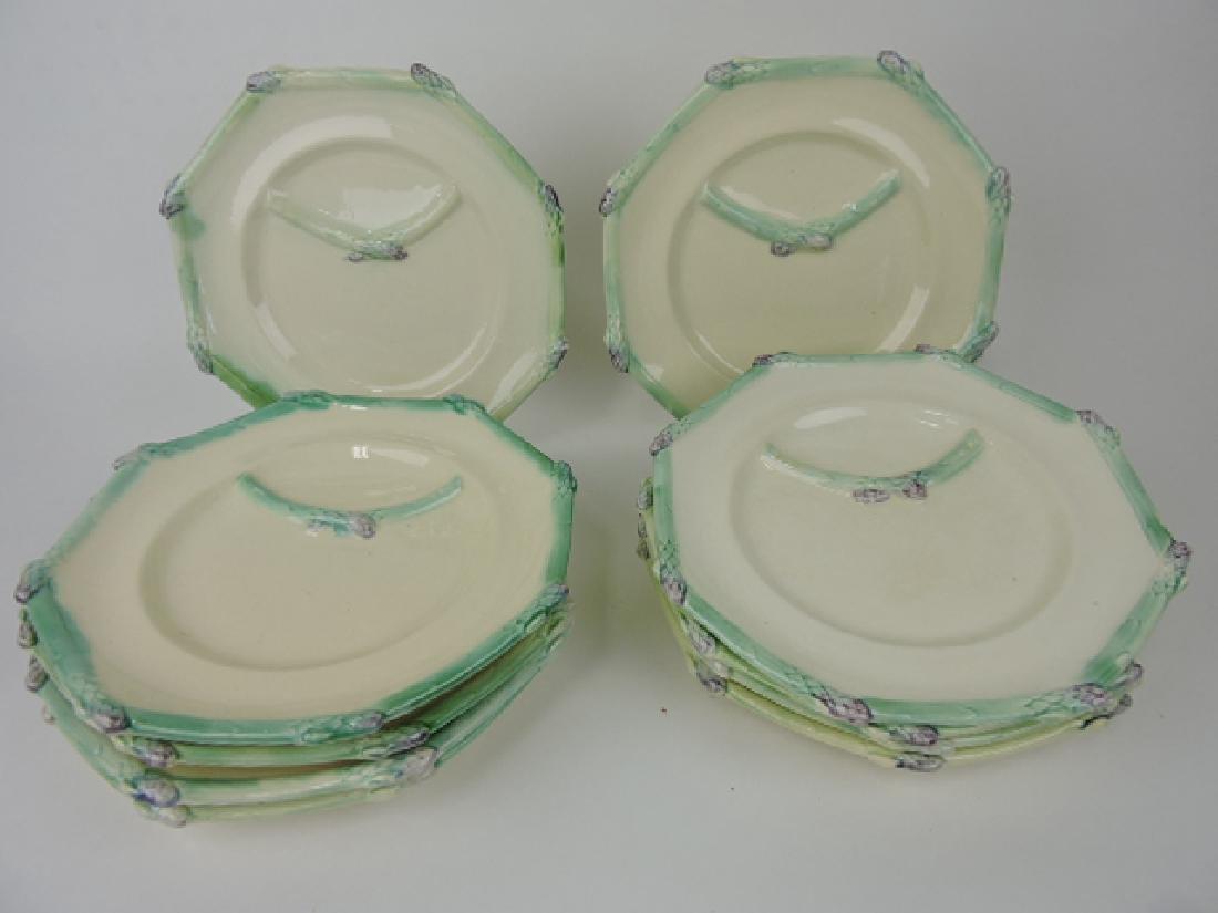 "French majolica set of 10-10"" asparagus plates,"
