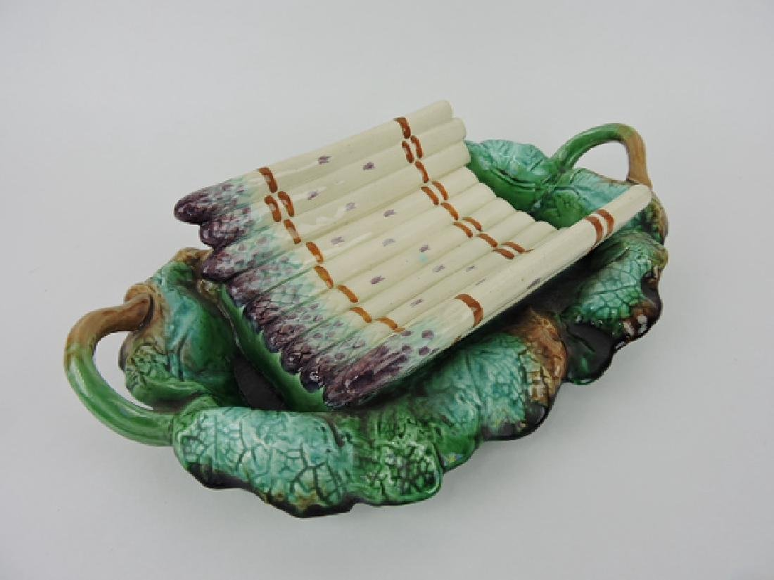 """French majolica asparagus cradle on leaf tray, 15"""""""
