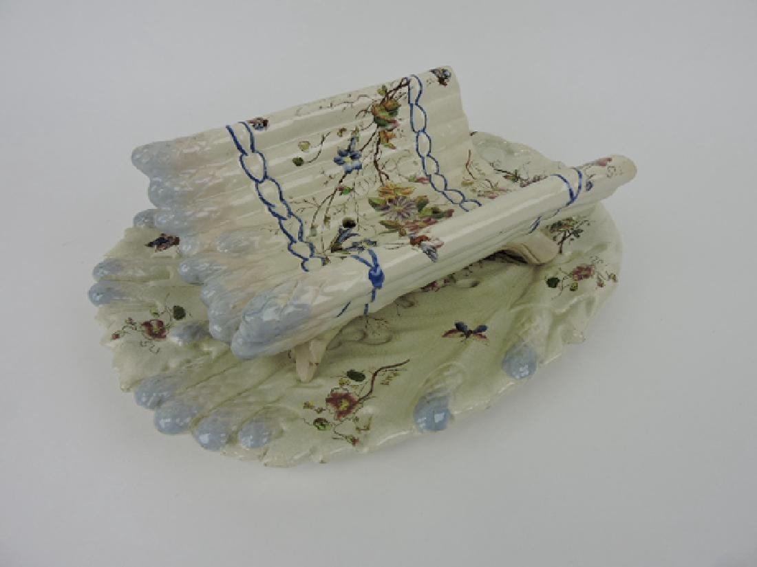 French majolica asparagus cradle and tray,