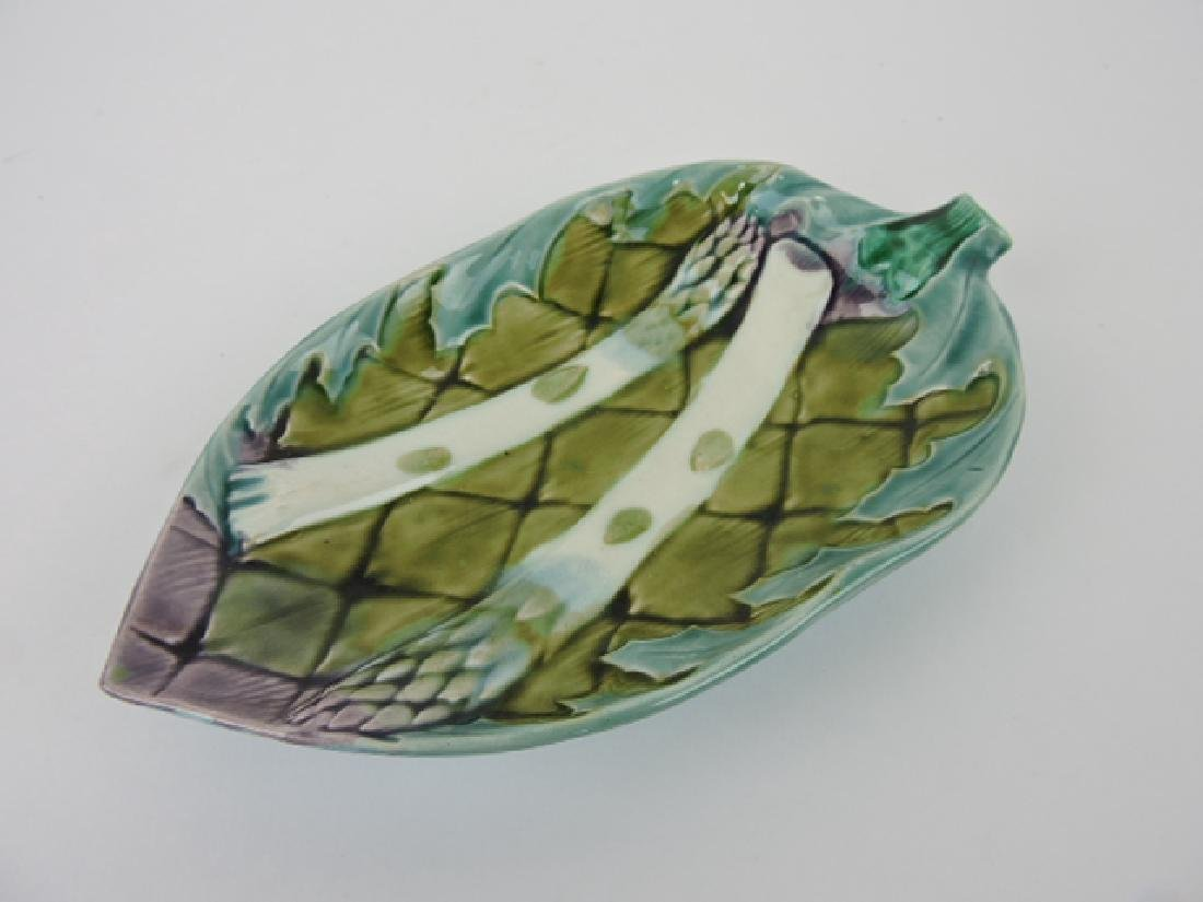 French majolica asparagus leaf shape tray,
