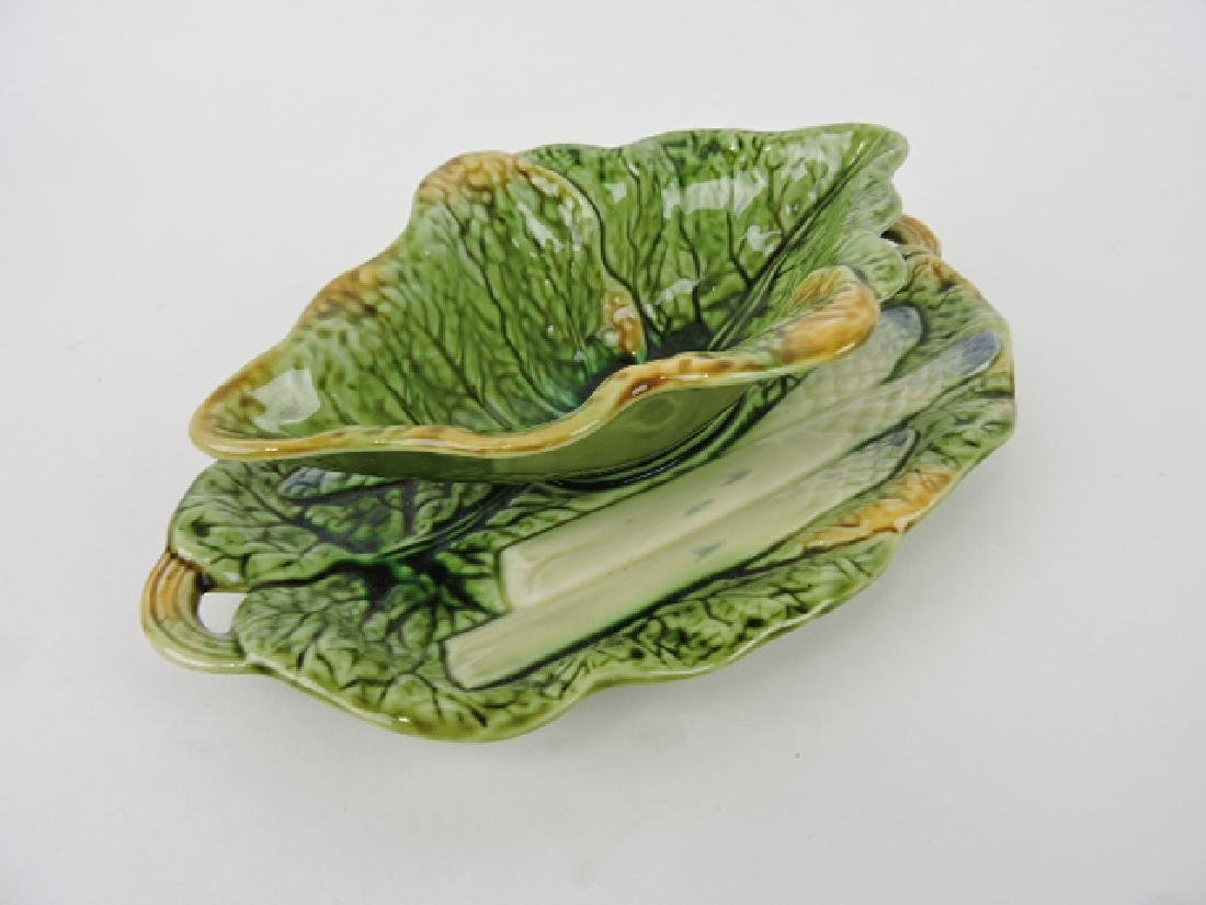 French majolica asparagus sauce boat on stand,