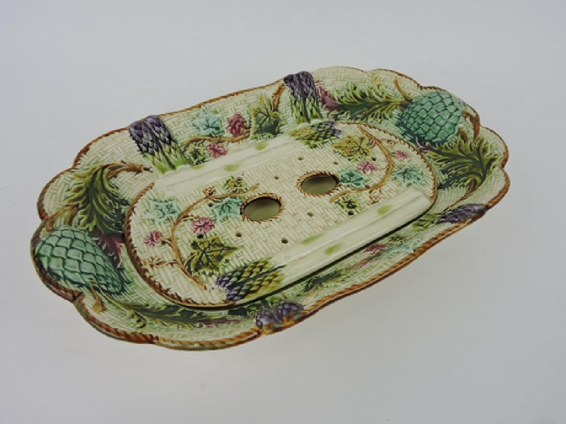 French majolica asparagus tray with insert, 14 1/2