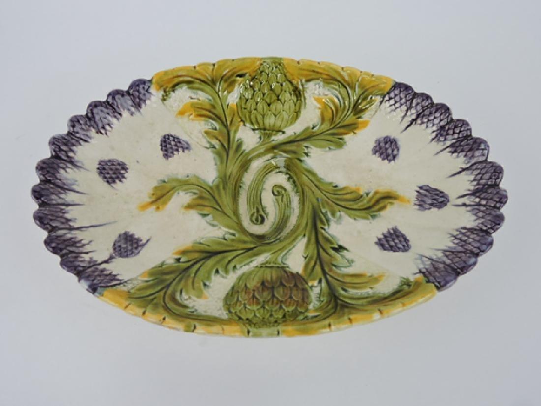 "French majolica asparagus tray, 14"""