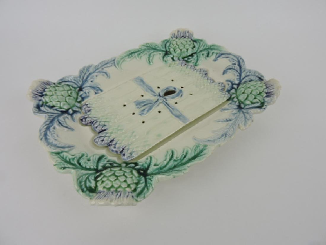 """French majolica asparagus tray with insert, 14"""""""