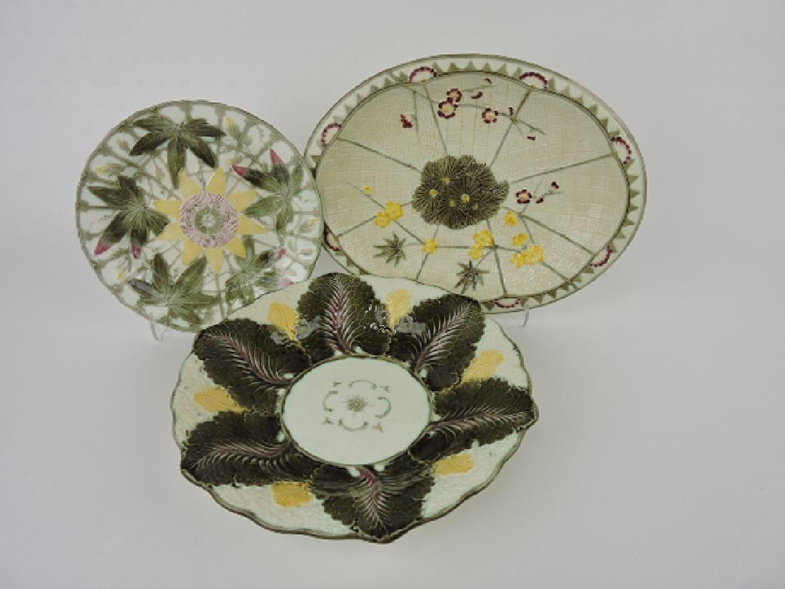 Wedgwood majolica Argenta lot of 3-passion flower