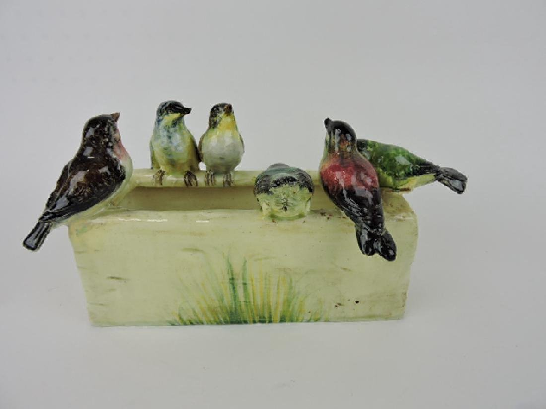 Delphin massier majolica birds on window box