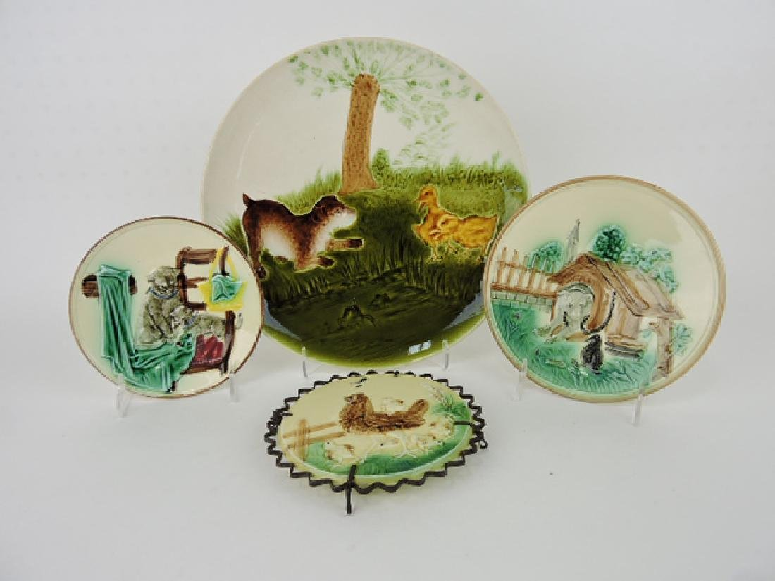 Majolica lot of 3 animal plates and hen and chicks