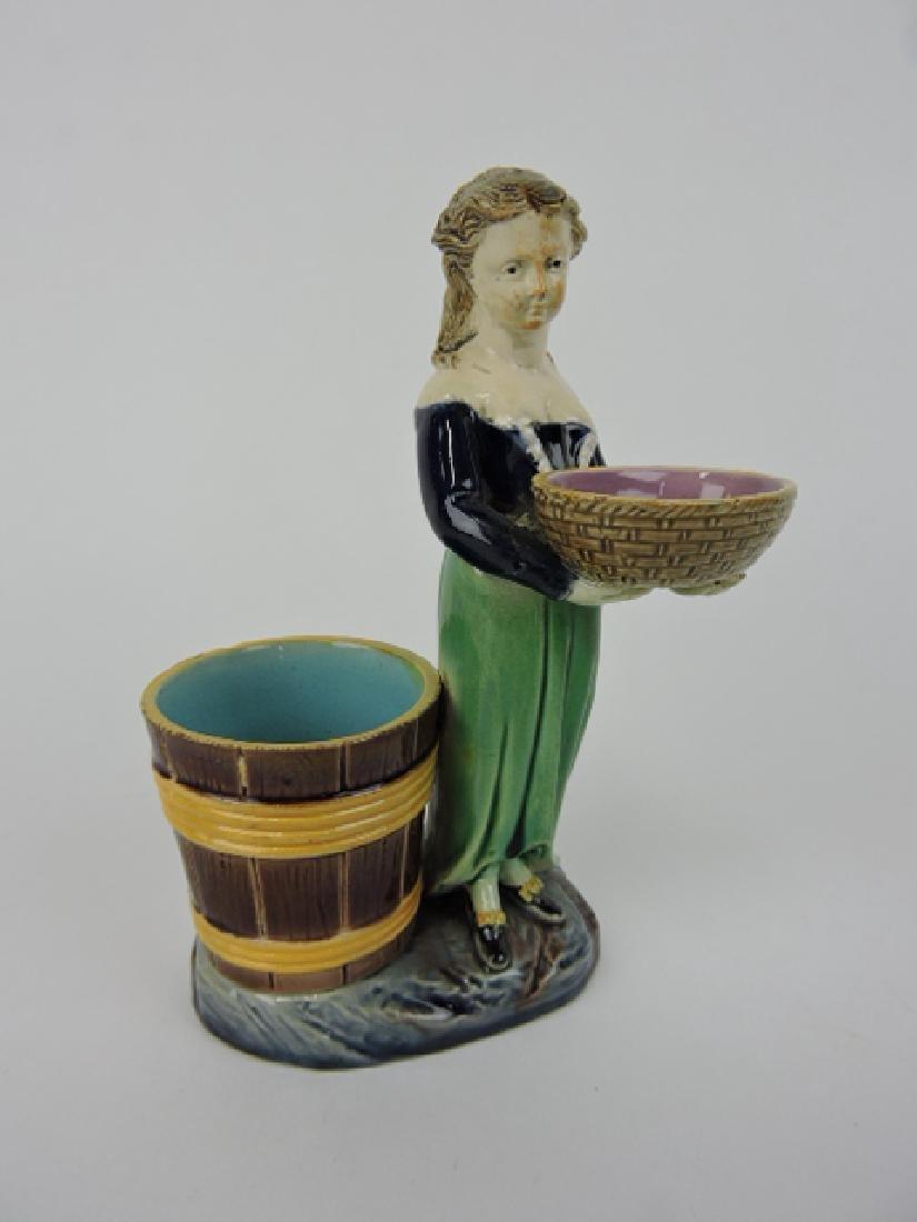 Holdcroft majolica lady figural salt and toothpick