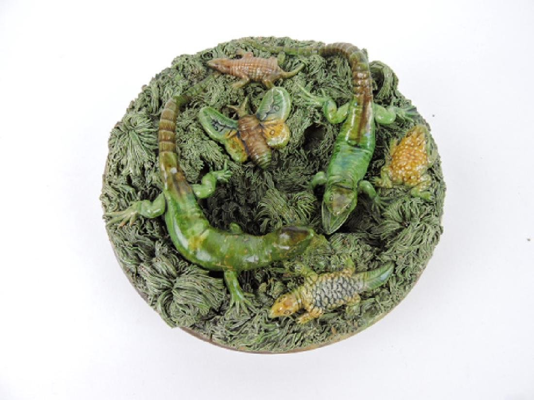 Portugal Palissy ware plaque with selamanders and