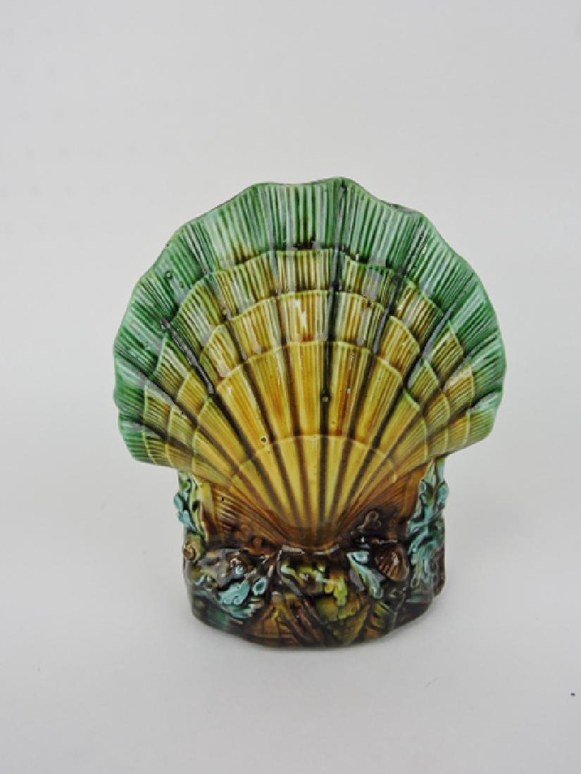 "Majolica shell form posey vase, 7 1/2"""