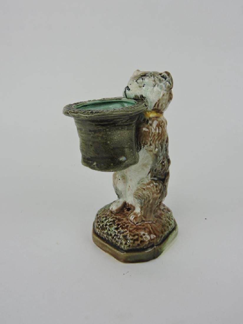 """Majolica dog with top hat spill vase, 6"""""""