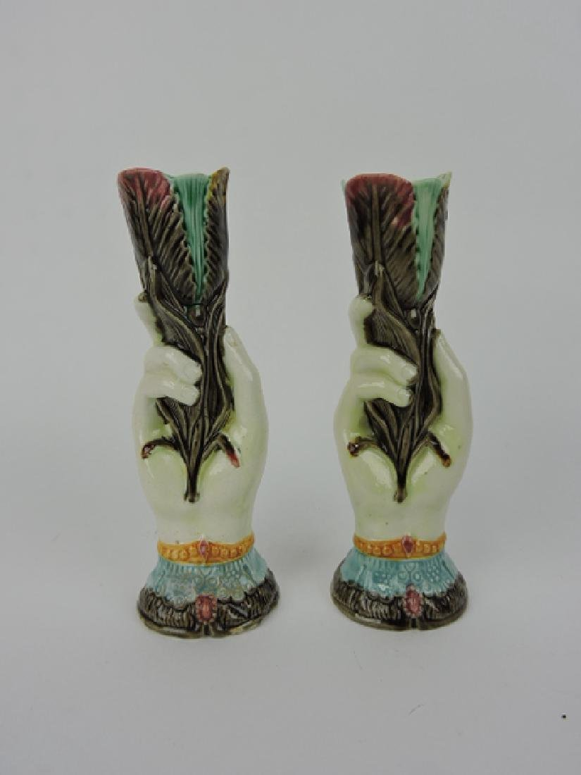 "Majolica pair of hand vases, 7"", one repaired"