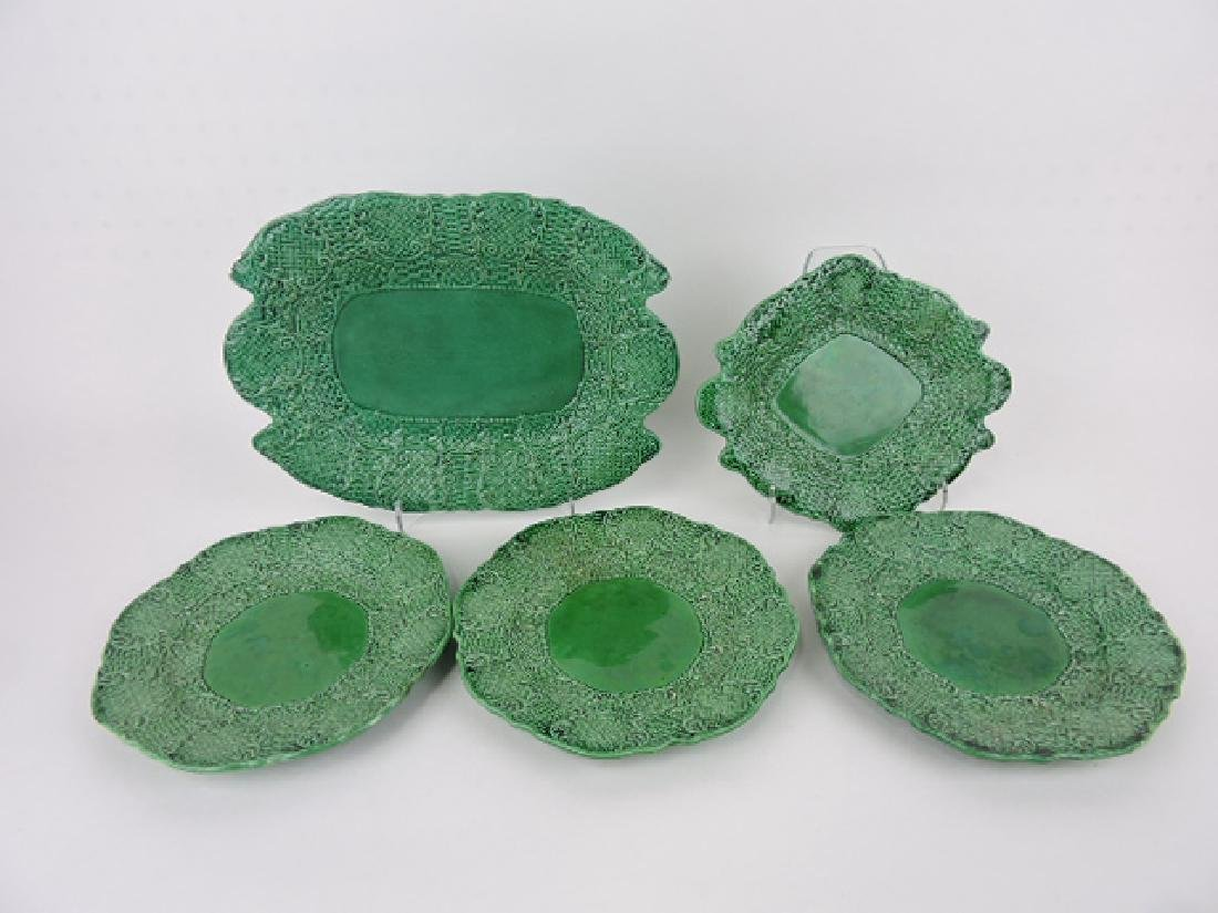 Majolica dark green set of 2 trays and 3 plates,