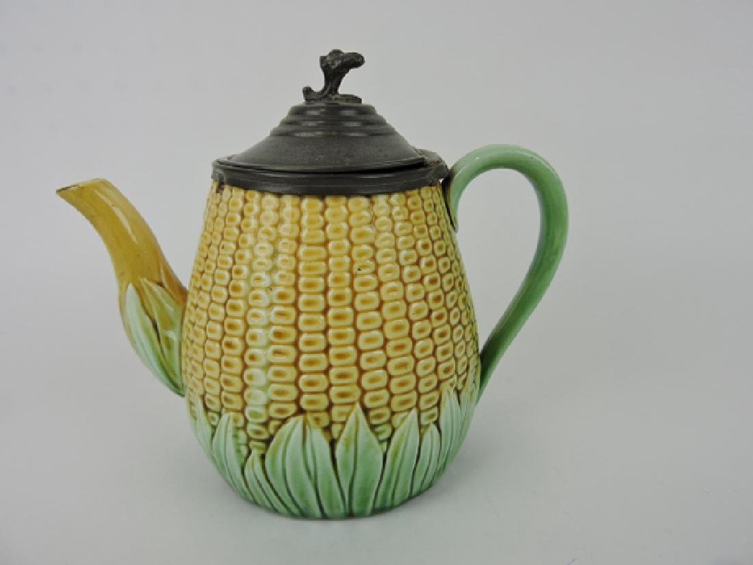Majolica corn teapot with pewter lid, minor wear