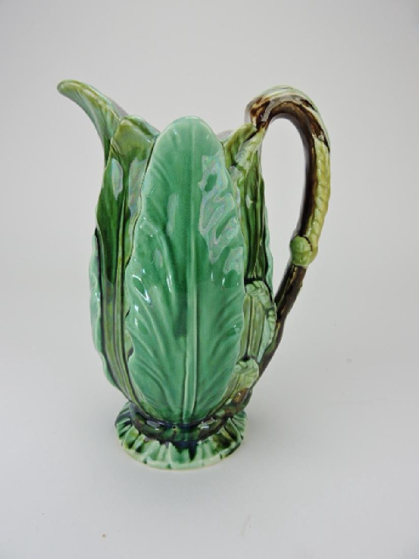 Majolica leaf form pitcher, 9""