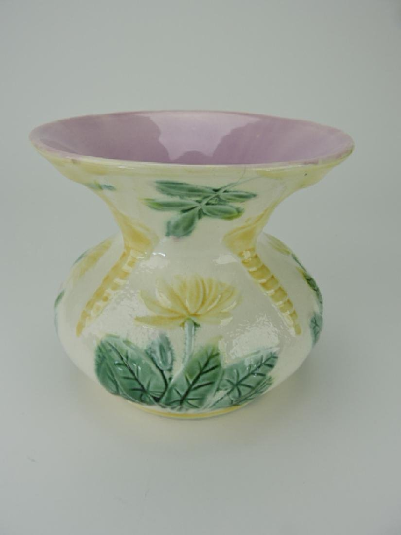 Etruscan majolica water lily spittoon, 2 small