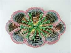 """Etruscan majolica shell and seaweed platter, 14"""","""