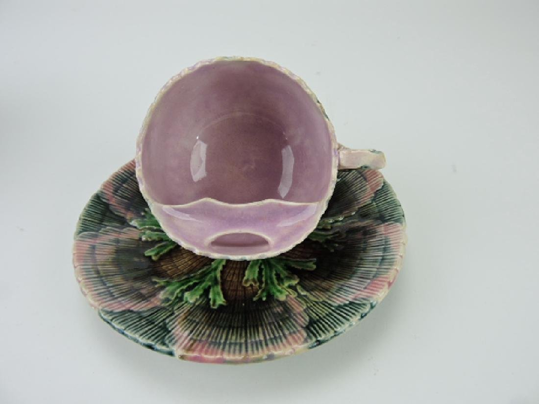 Etruscan majolica shell and seaweed mostache cup